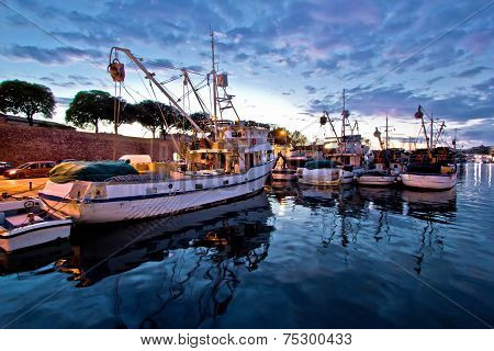 Fishing Boats On Colorful Sunset