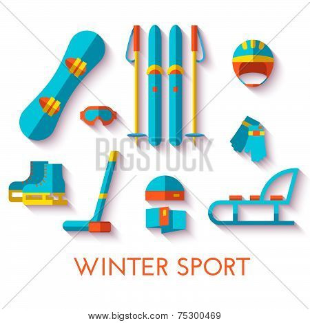 Vector icon set of winter sport. Flat design
