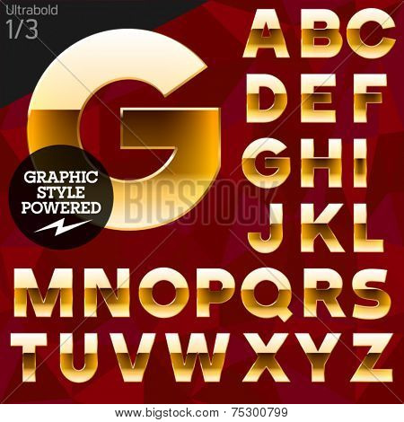 Vector illustration of pure golden font plus graphic styles. Bold. File contains graphic styles available in Illustrator