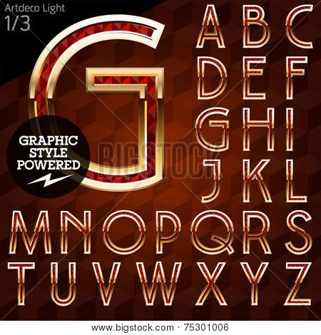 Shiny font of gold and diamond vector illustration. Artdeco light. File contains graphic styles available in Illustrator