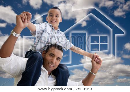 Father And Son Over Clouds, Sky And House Icon