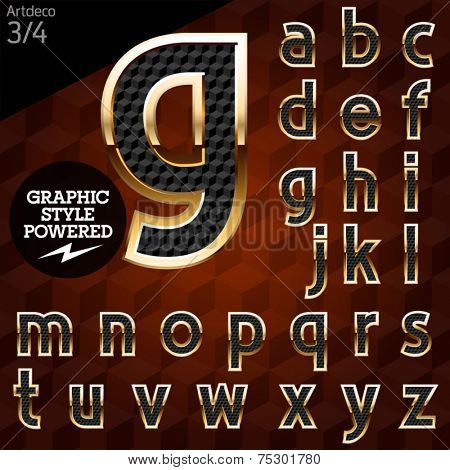 Shiny font of gold and diamond vector illustration. Artdeco normal. File contains graphic styles available in Illustrator