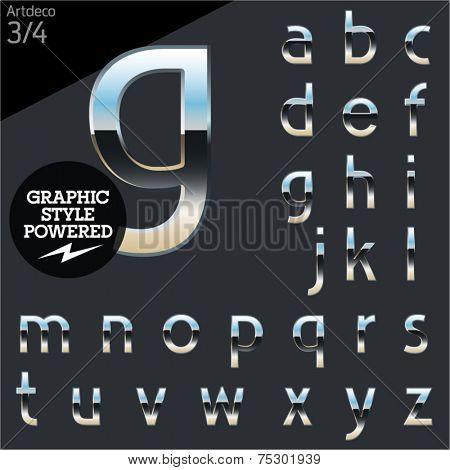 Silver chrome and aluminum vector alphabet set. Artdeco normal. File contains graphic styles available in Illustrator