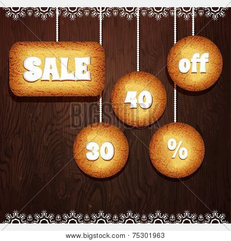 Christmas Cookies With The Value Discount Sale Vector
