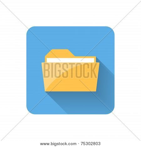 Flat Folder Icon. Vector Illustration