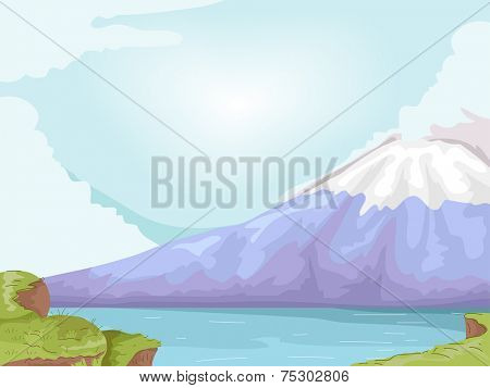 Illustration Featuring Mt. Fuji of Japan