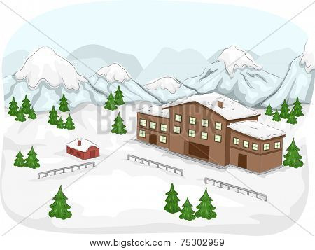 Illustration Featuring a Ski Lodge