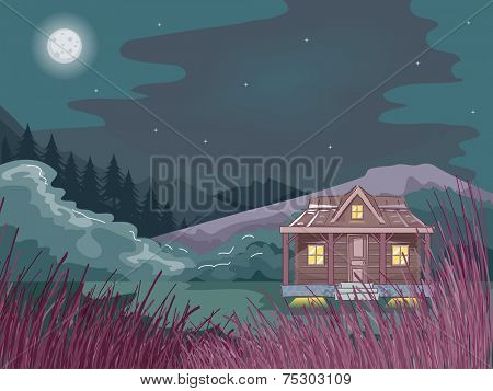 Illustration Featuring a Cabin in the Woods