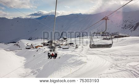 Chairlifts In Front Of Ski Resort Of Gudauri, Georgia