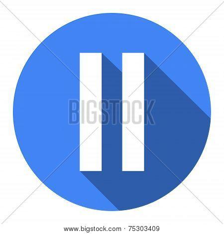 Pause Blue Flat Web Icon