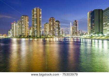 Tokyo, Japan residential skyscrapers on Tsukishima Island.