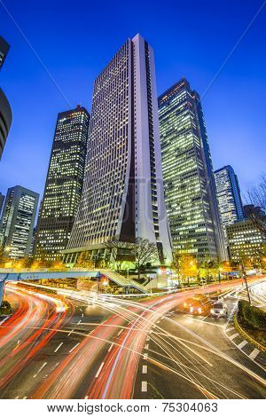 Tokyo, Japan cityscape and roads in the Nishi-Shinjuku Skyscraper District.