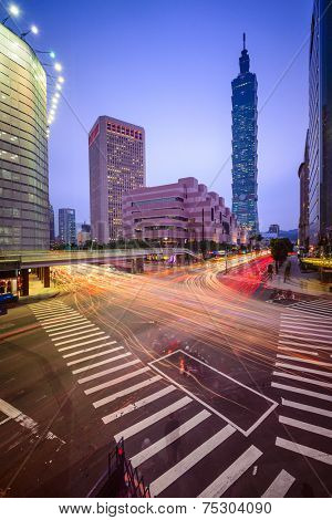 Taipei, Taiwan Citsyscape and Intersection at twilight.