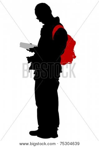 Silhouette of man with backpack on white background