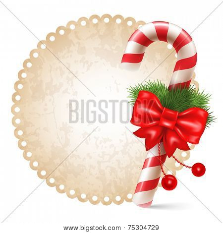 Candy cane with christmas decoration, winter holidays symbol on vintage background.  Vector illustration. Isolated on white background.