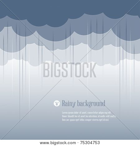 Cloud paper shape and rain, weather season background. Vector illustration.