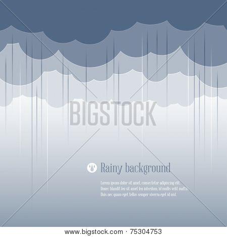 Cloud paper shape and rain, weather season background. Vector illustration.