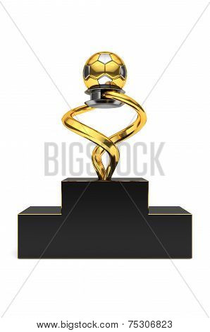 Gold and silver colored glossy trophy isolated on white background.