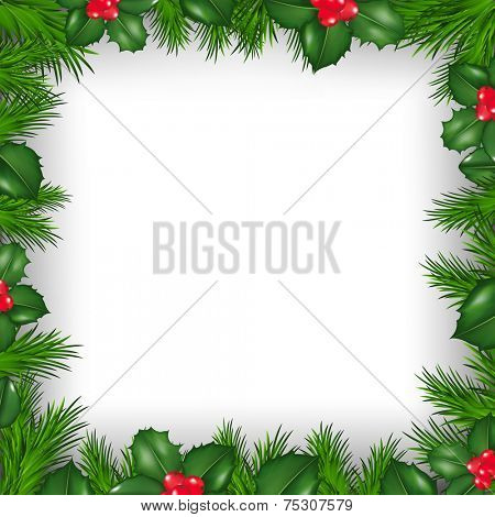 Christmas Border From Holly Berry With Gradient Mesh, Vector Illustration