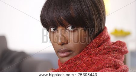 Sultry Black Woman Wearing Red Blanket
