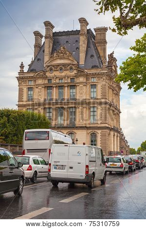 Paris, France. Rainy Day, Facade Of Louvre Museum