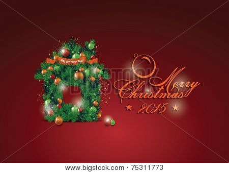 Christmas house from fir-tree branches decorated to balls. Elegant Classic Christmas flyer