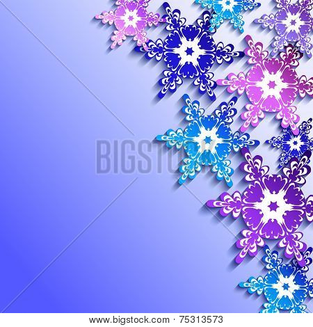 Winter Background With 3D Colorful Snowflakes