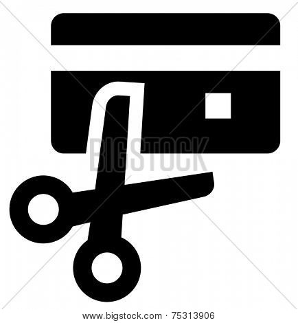 Scissors cut credit card icon