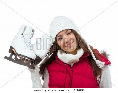 Pretty Woman With Ice Skates Winter Sport Activity In White Cap