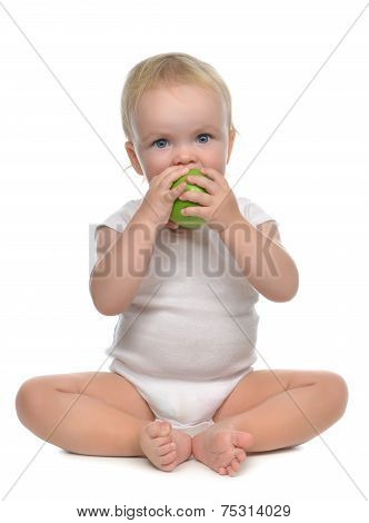 Infant Child Baby Infant Girl Eating Apple