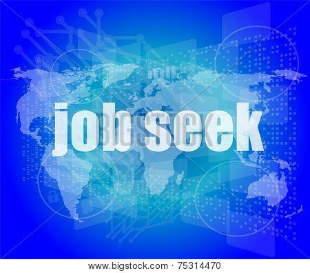 Job Seek Word On Touch Screen, Modern Virtual Technology Background