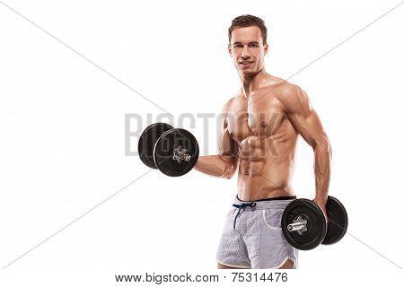 Muscular Bodybuilder Guy Doing Exercises With Dumbbells