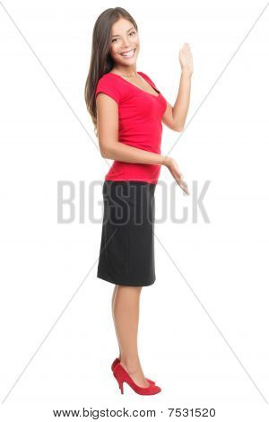 Woman Showing Copy-space Isolated