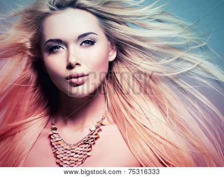 Closeup portrait of the beautiful  woman with long white  hair.  Concept image is in tinting colorize style