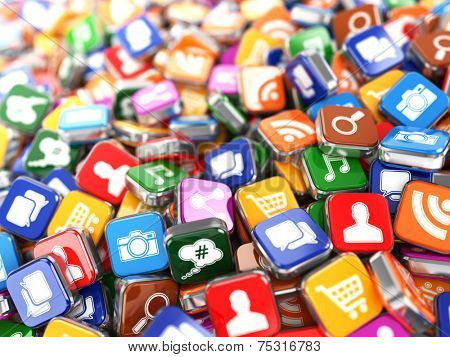 Software. Smartphone or mobile phone app icons background. 3d
