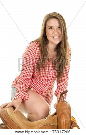 Cowgirl Red White Shirt Saddle Knee Up