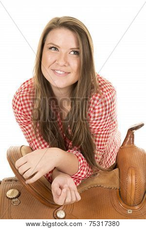 Cowgirl Red White Shirt Saddle Look Side