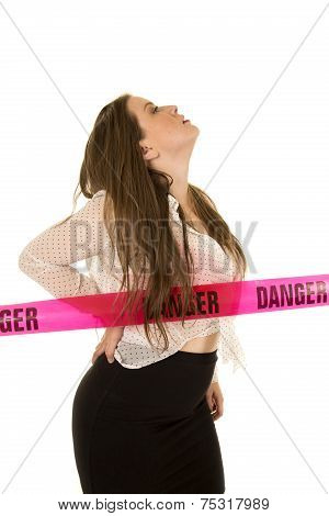 Woman with Danger sign