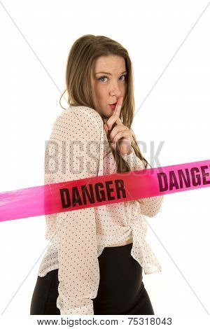 Woman See Through Shirt Red Bra Danger Shhh