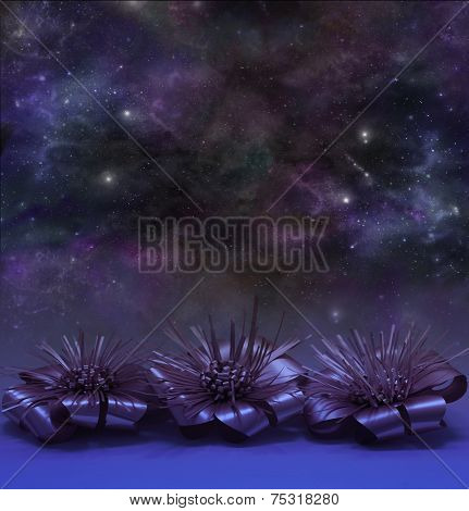 Christmas themed stars at night background
