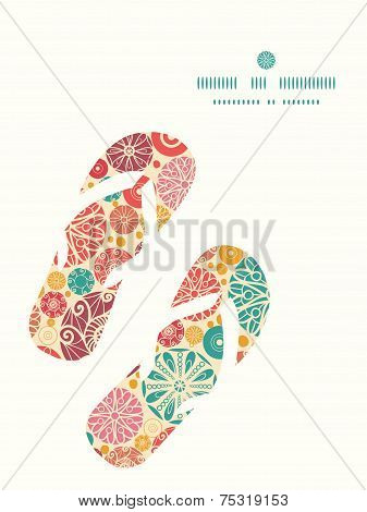 Vector abstract decorative circles flip flops silhouettes pattern frame