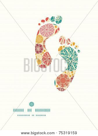 Vector abstract decorative circles footprints silhouettes pattern frame