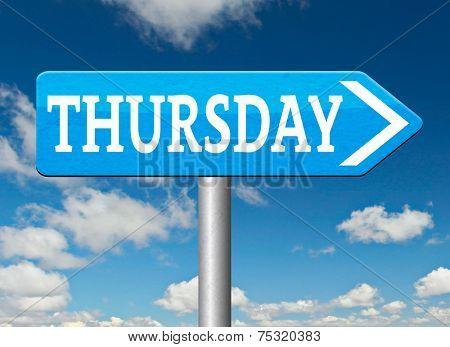 thursday sign event calendar or meeting schedule