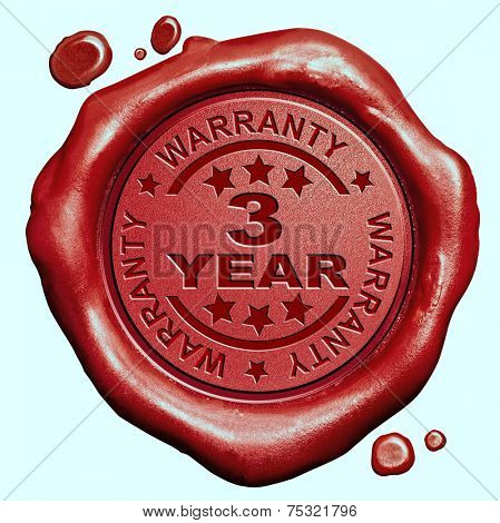 3 Year warranty quality label guaranteed product red wax seal stamp