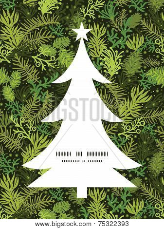 Vector evergreen christmas tree Christmas tree silhouette pattern frame card template