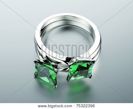 Golden Engagement Ring with Emerald. Fashion Jewelry background