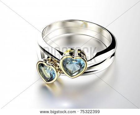 Ring with  Blue topaz or aquamarin heart shape. Jewelry background