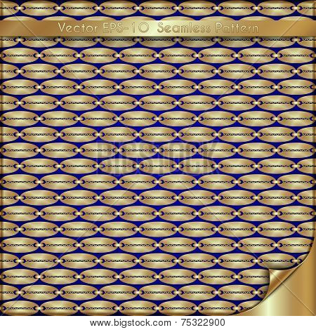 Vector abstract luxury golden background with old chain pattern