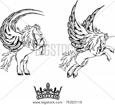 pegasus horse sticker tattoo set3