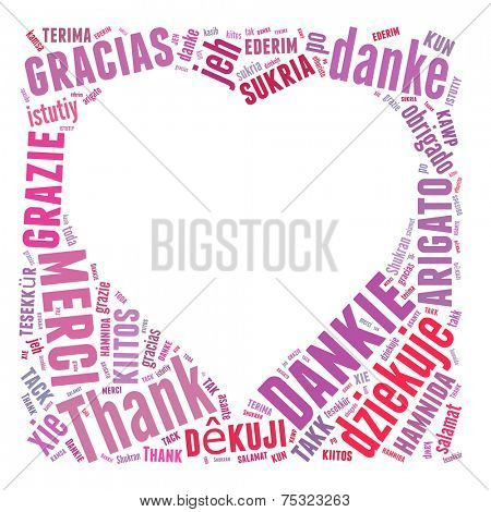 Conceptual text word cloud with heart shape Thank You